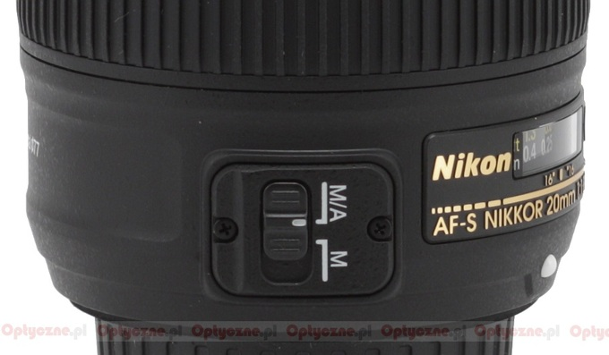 Nikon Nikkor AF-S 20 mm f/1.8G ED - Build quality